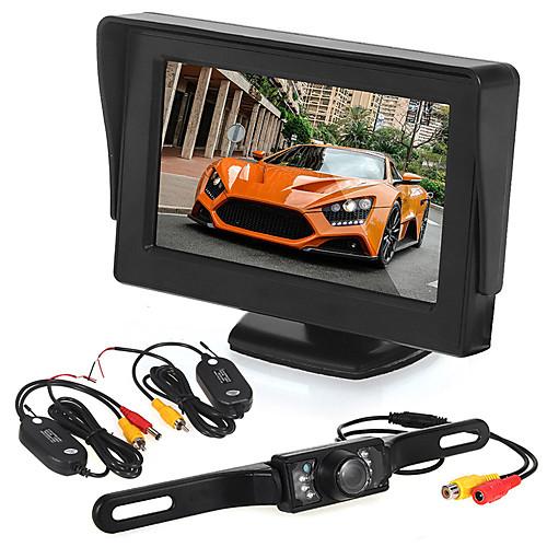 Автомобильный реверсивный мониторинг4,3-дюймовый дисплей / светодиодная видеокамера / беспроводной передатчик и приемник