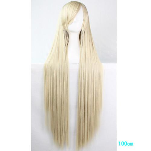 Парики из искусственных волос / Маскарадные парики Прямой Блондинка С чёлкой Блондинка Искусственные волосы Жен. Боковая часть Блондинка Парик Длинные Моноволокно / L-образный / Половина монолитным