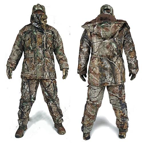 Куртка и брюки для охоты Водонепроницаемость Сохраняет тепло Ударопрочность Муж. Длинный рукав Классика Мода камуфляж Зимняя куртка