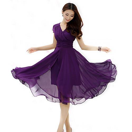 Для женщин На каждый день Большие размеры Простое Шифон С летящей юбкой Платье Однотонный,V-образный вырез Средней длиныС короткими