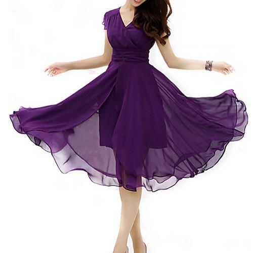 женщины плюс размер собрались микро эластичная миди платье шифон <br>