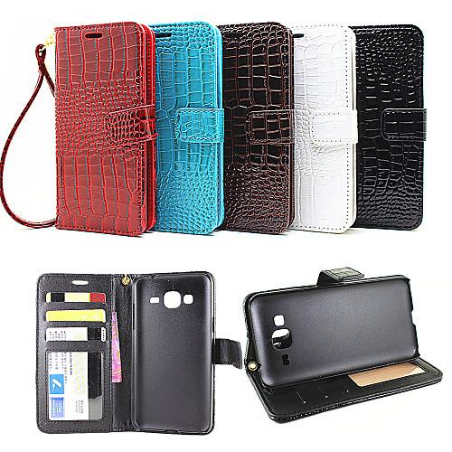 SHI CHENG DA Кейс для Назначение SSamsung Galaxy Кейс для Samsung Galaxy Кошелек / Бумажник для карт / со стендом Чехол Однотонный Кожа PU для J7 (2016) / J7 / J5 (2016), Красный