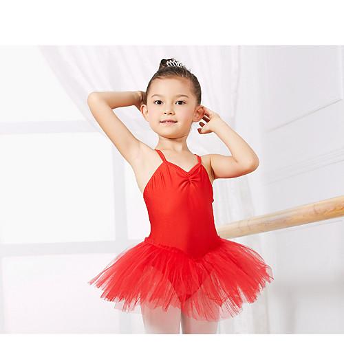 Детская одежда для танцев Балетное трико Учебный Спандекс Без рукавов