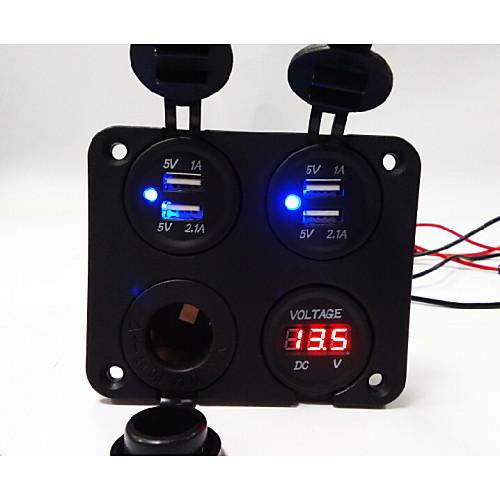 новый! 4-х позиционная панель нового дизайна с двойным USB-гнездом для зарядного устройства / вольтметром / розеткой / сигаретой от Lightinthebox.com INT