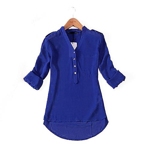 TS Блуза TS , V-образный вырез , Длинный рукав , Шифон