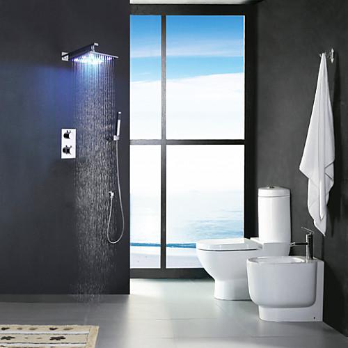 Смеситель для душа - Современный Хром На стену Медный клапан Bath Shower Mixer Taps / Латунь / Две ручки Четыре отверстия