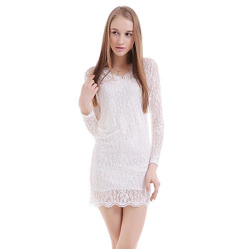 TS Средней длины Кружева Платье TS , Глубокий V-образный вырез , Длинный рукав , Нейлон / Полиэстер от Lightinthebox.com INT