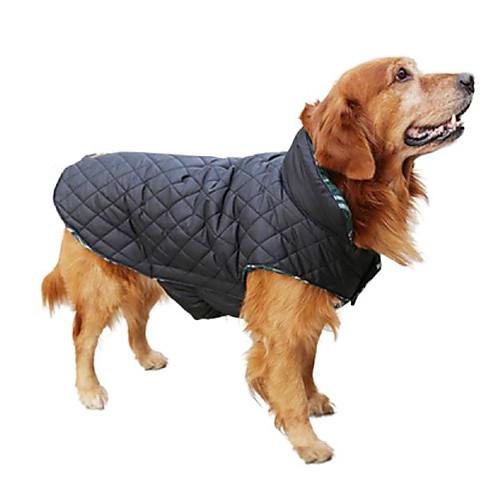 Собака Плащи Жилет Зимняя одежда Одежда для собак Двухсторонний Сохраняет тепло Двухсторонний В клетку Бежевый Коричневый Красный Зеленый