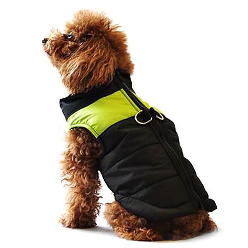 Собака Плащи Жилет Пуховики Одежда для собак Зима Теплый На каждый день Сохраняет тепло Контрастных цветов Желтый Красный Черный/Розовый