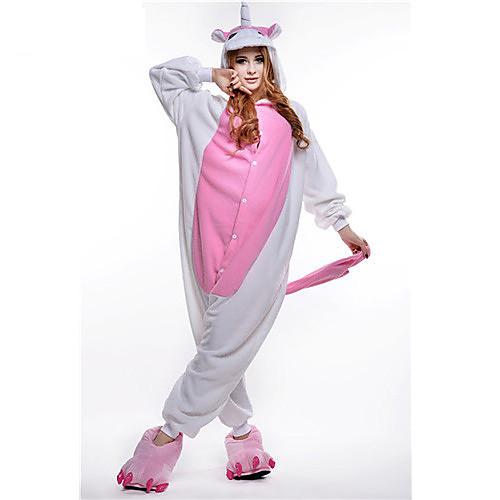 Кигуруми Пижамы Unicorn Костюм Комбинезон-пижама Пижамы Розовый Флис Косплей Для Взрослые Нижнее и ночное белье животных Рождество
