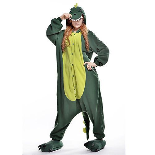 Кигуруми Пижамы Динозавр Костюм Комбинезон-пижама Пижамы Зеленый Флис Косплей Для Взрослые Нижнее и ночное белье животных Рождество