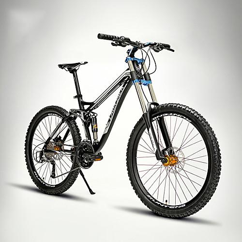 Горный велосипед Велоспорт 27 Скорость 26 дюймы / 700CC SHIMANO M370 Гидравлический дисковый тормоз Вилка Рама с полной подвеской Обычные Алюминиевый сплав, Черный