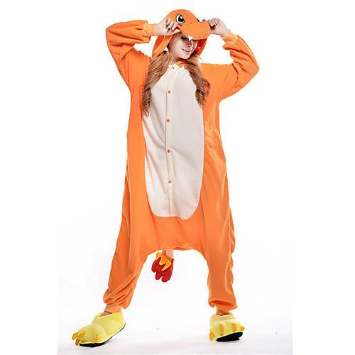 Кигуруми Пижамы Дракон Костюм Комбинезон-пижама Пижамы Оранжевый Флис Косплей Для Взрослые Нижнее и ночное белье животных Рождество