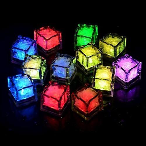 24pcs синий / красный / зеленый / розовый / желтый / RGB / белые кубики льда свет водить вечеринка свадьба ресторан рождественский бар