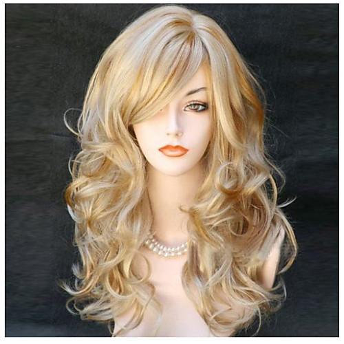 Парики из искусственных волос Естественные кудри Блондинка С чёлкой Блондинка Искусственные волосы 24 дюймовый Жен. Боковая часть Блондинка Парик Длинные Без шапочки-основы