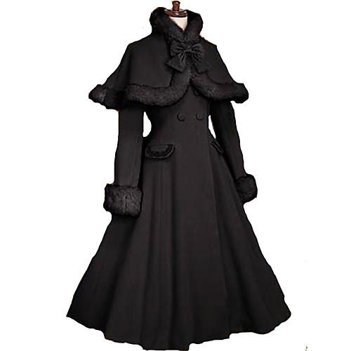 Лолита платье Сладкое детство Принцесса Пальто Косплей Черный Длинные рукава Длинный рукав
