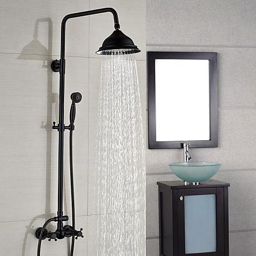 Смеситель для душа - Современный Начищенная бронза По центру Керамический клапан Bath Shower Mixer Taps / Латунь / Две ручки двумя отверстиями