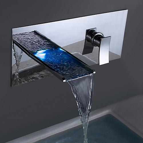 Смеситель для ванны / Ванная раковина кран - Водопад Хром На стену Два отверстия / Одной ручкой Два отверстияBath Taps