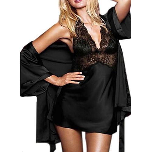 Для женщин Комбинация Ночное белье Однотонный Ice Silk (искусственное волокно) Красный / Черный Женский