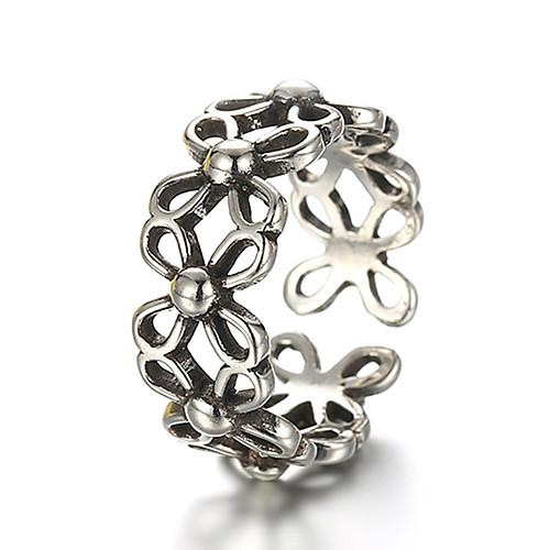 Универсальные Кольцо Регулируемое кольцо кольцо для большого пальца Серебряный Стерлинговое серебро Серебристый Дамы Необычные Уникальный дизайн Повседневные Бижутерия Цветы фото