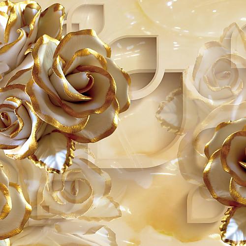 Цветочный принт Украшение дома Роскошь Облицовка стен, холст материал Клей требуется фреска, Обои для дома