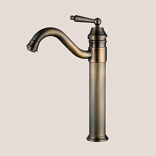 Традиционный Чаша Вращающийся Керамический клапан Одно отверстие Одной ручкой одно отверстие Старая латунь, Ванная раковина кран