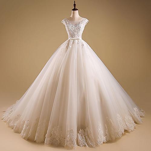 256f143fa98 С пышной юбкой Круглый вырез С коротким шлейфом Кружево с бусинами Свадебные  платья Made-to
