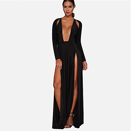 Women's Party Maxi Swing Dress - Solid Colored Black, Split Deep V Summer White Black Red M L XL / Loose / Super Sexy