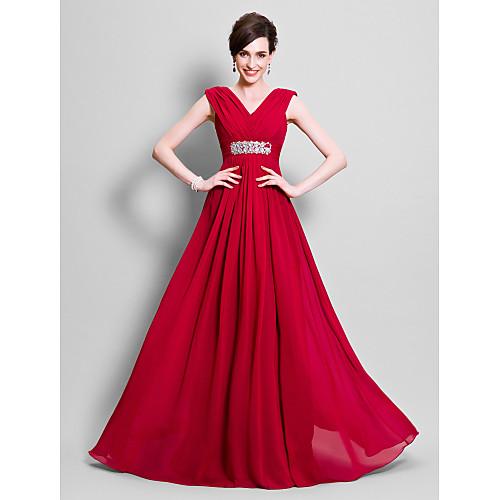 А-силуэт V-образный вырез В пол Шифон Платье для матери невесты с Бусины / Оборки сбоку от LAN TING BRIDE