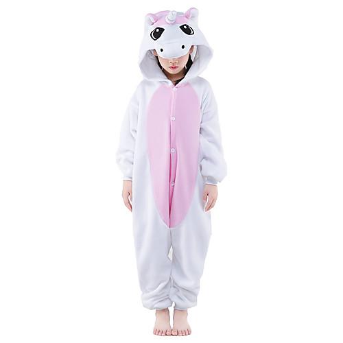 Кигуруми Пижамы Unicorn Костюм Комбинезон-пижама Пижамы Розовый Флис Косплей Для Для детей Нижнее и ночное белье животных Рождество