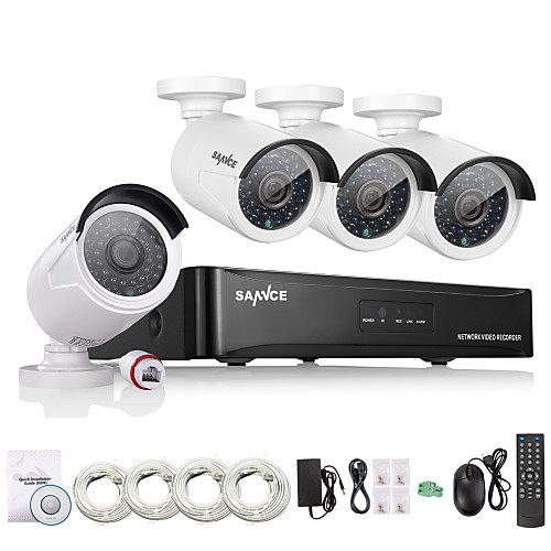 sannce 4ch hd 1.3 mp 960p nvr poe безопасность ip камера комплект система домашняя сеть наружная