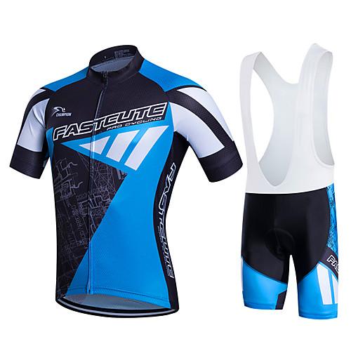 Fastcute Муж. С короткими рукавами Велокофты и велошорты-комбинезоны - Черный / синий Большие размеры Велоспорт Наборы одежды Дышащий 3D-панель Быстровысыхающий Впитывает пот и влагу Виды спорта