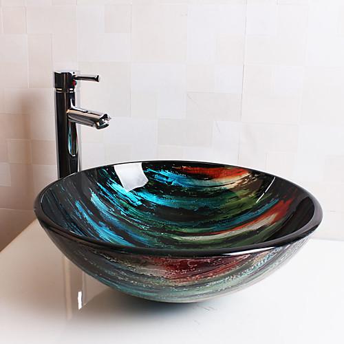 Современный T12Φ420H145MM Круглый Раковина Материал является Закаленное стеклоумывальник для ванной / смеситель для ванной / монтажное