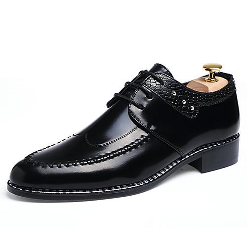 Муж. Официальная обувь Лакированная кожа Весна / Осень Деловые Туфли на шнуровке Черный / Темно-русый / Вино / Кожаные ботинки / Платья