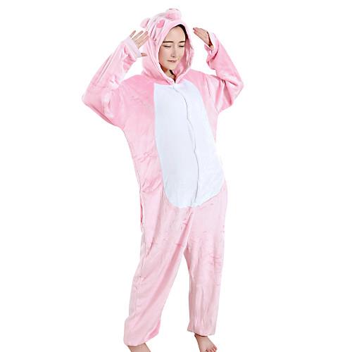 Взрослые Пижамы кигуруми Свинка Цельные пижамы Velvet норки Розовый Косплей Для Жен. Нижнее и ночное белье животных Мультфильм Фестиваль / праздник костюмы