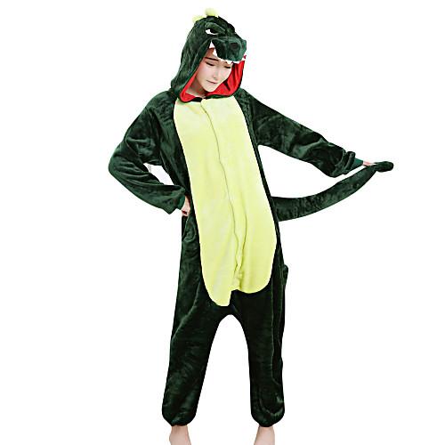 Кигуруми Пижамы Динозавр Костюм Комбинезон-пижама Пижамы Зеленый Velvet норки Косплей Для Взрослые Нижнее и ночное белье животных