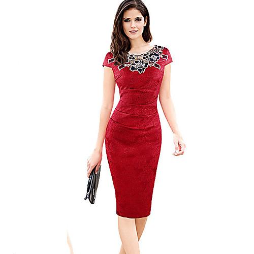 Жен. Большие размеры Офис Оболочка Платье - Однотонный До колена, Лиловый