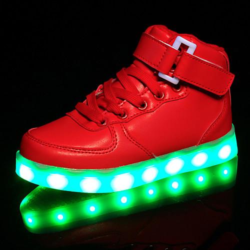 Девочки Обувь Синтетика Весна Удобная обувь / Обувь с подсветкой Кеды На крючках / LED для Белый / Черный / Красный / Резина