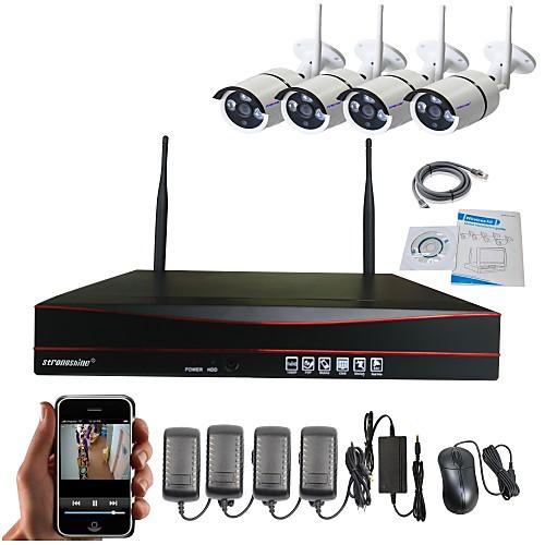 силиконовый 4ch h.264 беспроводной nvr 960p водонепроницаемый инфракрасный Wi-Fi ip камера системы наблюдения комплекты от Lightinthebox.com INT