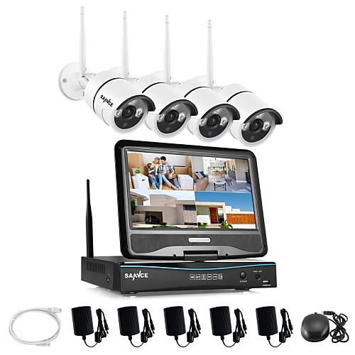 Sannce 2.4g 10.1 lcd 4ch hd wireless 720p wifi nvr 1500tvl in / outdoor ir разрезанная система безопасности камеры ip