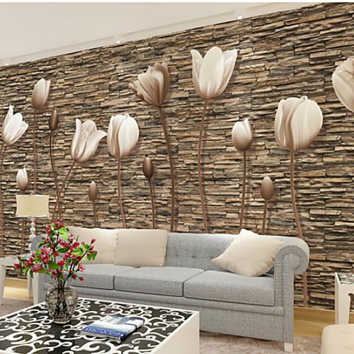 Большой 3D стерео обои росписи простой цветок каменная стена гостиная гостиная спальня телевизор фоне wallcoving448 × 280 см фото