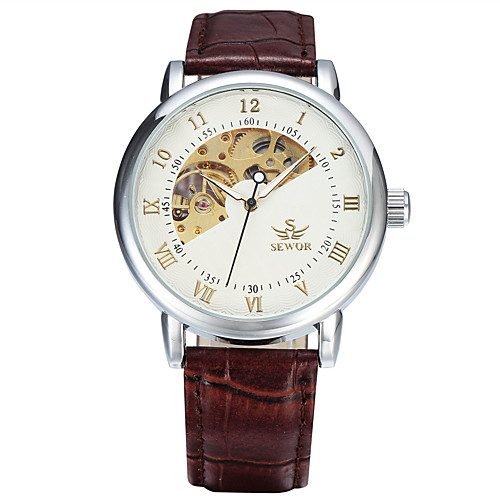 Муж. Спортивные часы Модные часы Нарядные часы С автоподзаводом Натуральная кожа Разноцветный 50 m Аналоговый Кулоны Классика На каждый день - Коричнево-золотой Белый / Серебристый Белый / Бежевый
