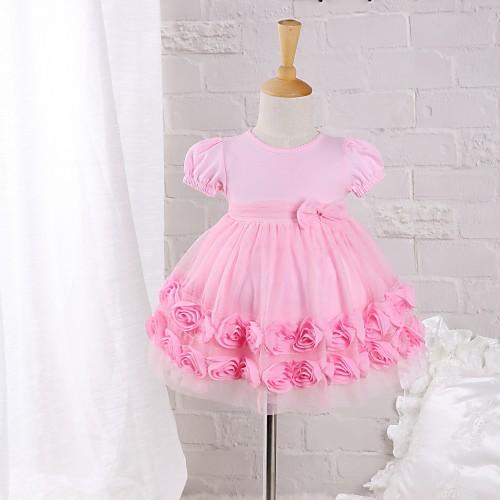 малыш Девочки С кружевами Однотонный С короткими рукавами Хлопок Платье, Розовый