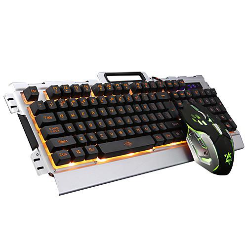 Проводная светодиодной подсветкой с подсветкой мультимедийные эргономичная USB игровой клавиатуры Gamer 3200dpi 6 кнопок оптическая мышь