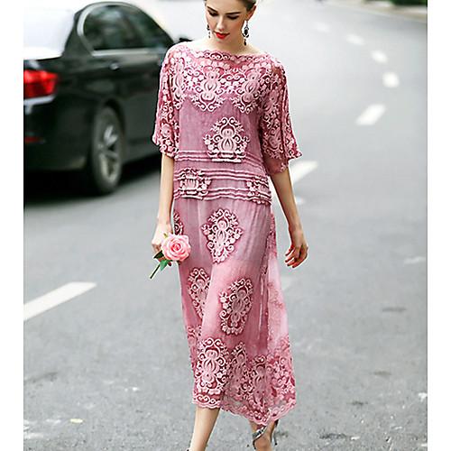 Жен. На выход Шёлк А-силуэт Платье - Вышивка Вырез лодочкой Средней длины, Зеленый