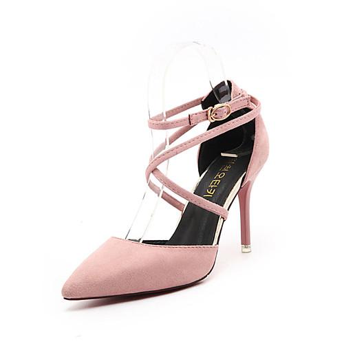 Жен. Полиуретан Весна Удобная обувь Обувь на каблуках На шпильке Заостренный носок Серый / Зеленый / Розовый, Черный