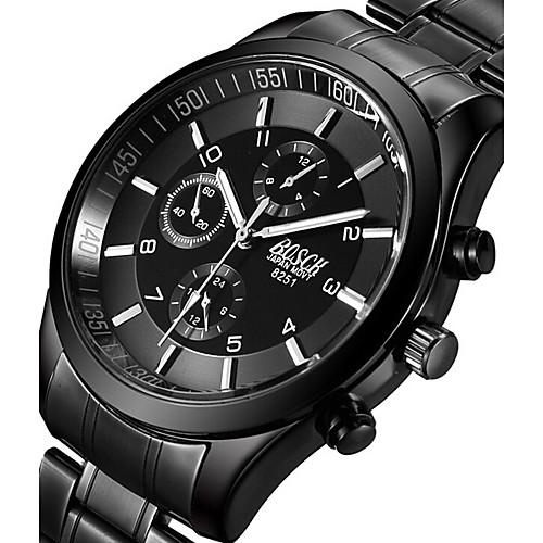 BOSCK Муж. Армейские часы Наручные часы Авиационные часы Кварцевый Нержавеющая сталь Черный 50 m Светящийся Фосфоресцирующий Cool Аналоговый Кулоны На каждый день Мода - Черный Серый Розовый фото