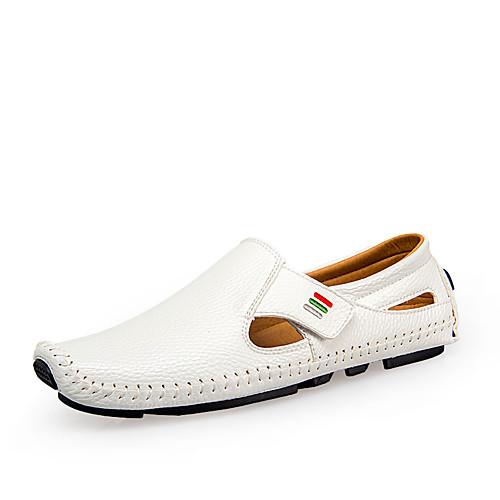 Муж. Обувь для вождения Полиуретан Весна / Лето Удобная обувь Мокасины и Свитер Белый / Черный / Темно-синий / Для вечеринки / ужина