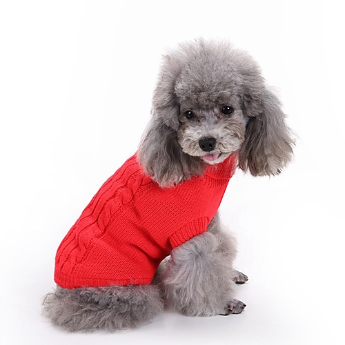Кошка Собака Свитера Одежда для собак Классика Сохраняет тепло Однотонный Красный Зеленый Розовый Светло-синий Тёмно-синий Костюм Для