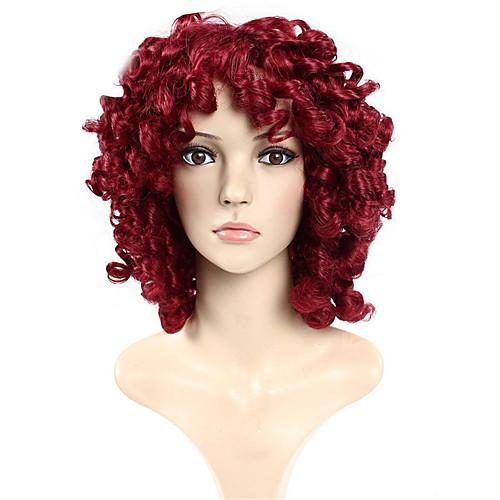 Парики из искусственных волос Кудрявый Свободные волны Кудрявый Свободные волны Парик Красный Искусственные волосы Красный фото